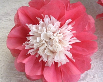 "12 Open Tissue Paper Flowers, 6"" to 16"",Japanese Anemone Peony,complete, paper flowers, anemone,unfurled"