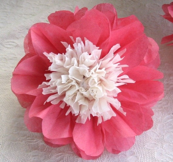 12 Open Tissue Paper Flowers, Japanese Anemone Peony, complete, paper flowers