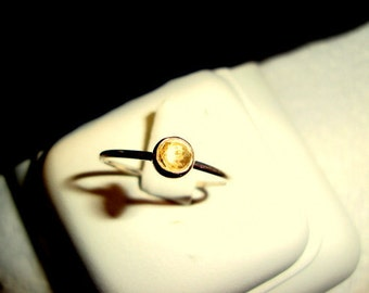 Citrine ring - .925 sterling silver (recycled/reclaimed) - Fair Trade eco friendly custom size November Birthstone Special