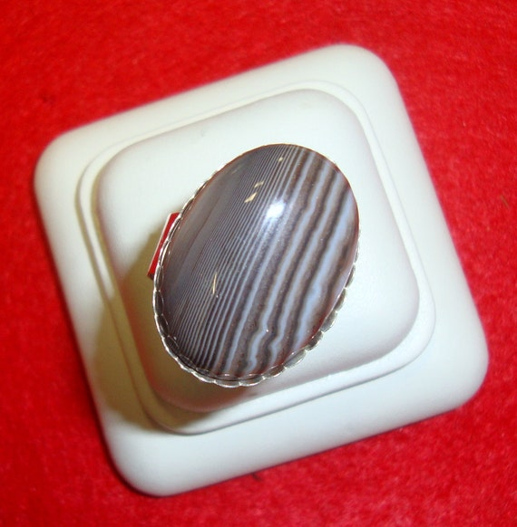 Ring Big Chocolate Pinstripe agate -  sterling silver from recycled sources Eco friendly - 1 inch OOAK - Custom Made in your Size