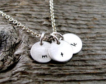 Tiny Personalized Initial or Monogram Hand Stamped Charm Necklace