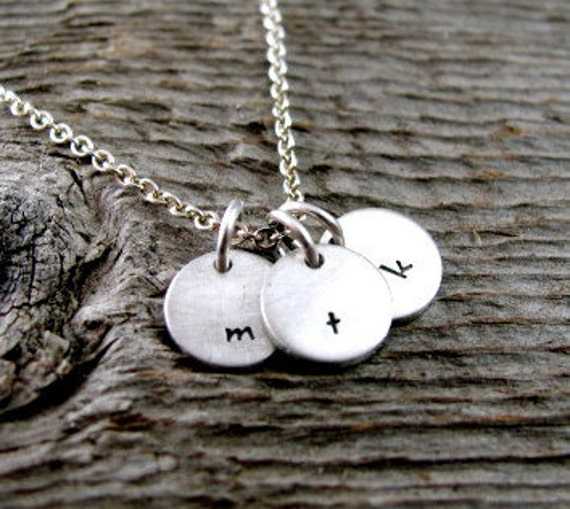 Tiny Keepsake Hand Stamped Customized Initial Necklace in Sterling Silver