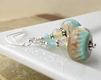 Bermuda Sands Boro lampwork Earrings