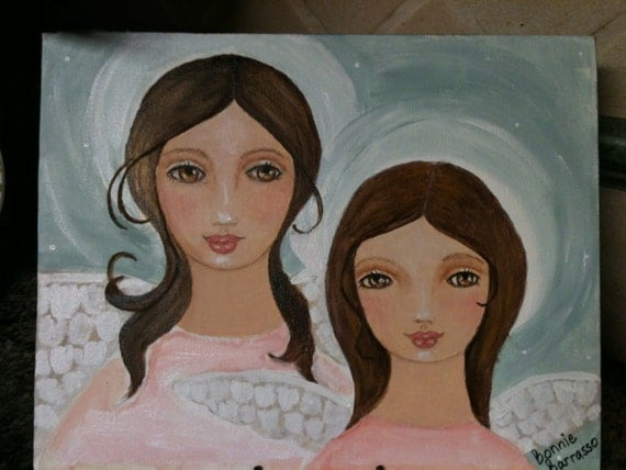Two Angels   Large Folk Art Painting Sisters, Friends ORIGINAL by bb