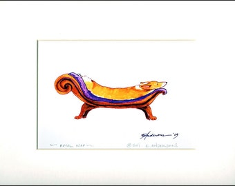 "Evie Anderson Pembroke Welsh Corgi Dog Art SIGNED PRINT ""Royal Nap""  (quality, signed, matted)"