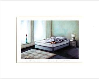"Evie Anderson Welsh Corgi Art SIGNED PRINT ""Sleeping In""  (signed, matted) Pembroke Welsh Corgis"
