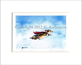 "Evie Anderson Welsh Corgi Art SIGNED PRINT ""Captain Snacky"" Pembroke Welsh Corgis (signed, matted)"