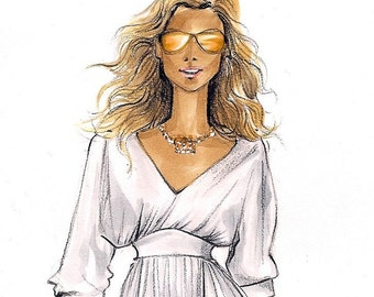 Carrie Bradshaw 2-Fashion Illustration Print-SATC