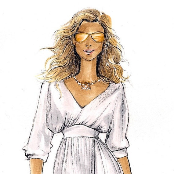 Carrie Bradshaw 2-Fashion Illustration Print-SATC