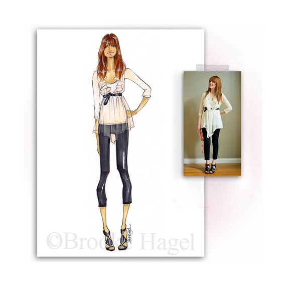 Custom Fashion Illustration - Sketch- By Brooke Hagel