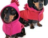 Eco Dog Coat - Recycled Pink Red Fleece - Medium
