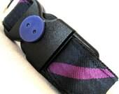 Eco Pet Collar - Recycled Purple Navy Stripe Necktie