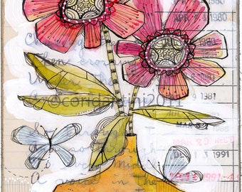 whimsical watercolor painting of flowers and butterflies in pink and yellow - 8 x 10 limited edition archival print by cori dantini