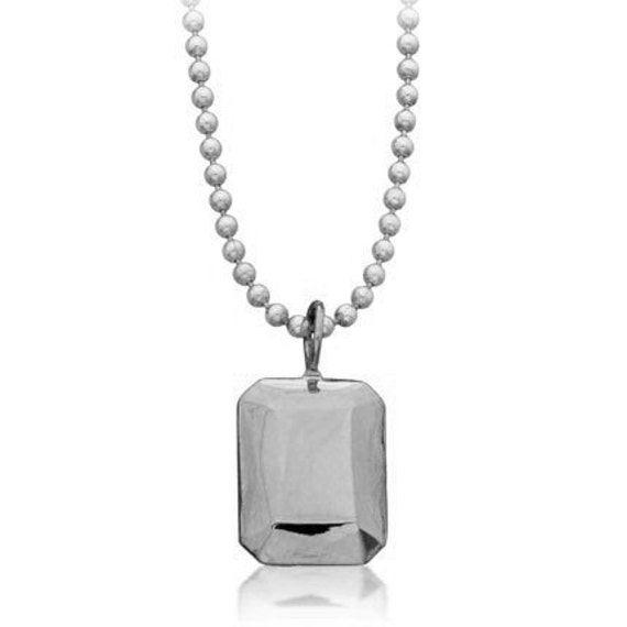 Modern diamond necklace, faceted metal, sterling silver, Modern Rock Emerald cut