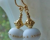 White Lampwork Earrings, Gold Earrings, Lampwork Bead Earrings, Dangle Earrings