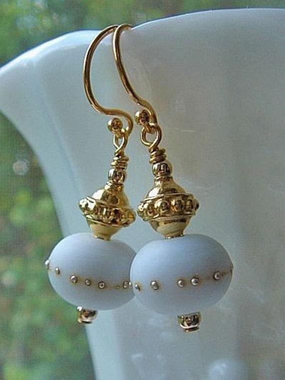 White Lampwork Earrings, Gold Earrings, Lampwork Bead Earrings, Dangle Earrings