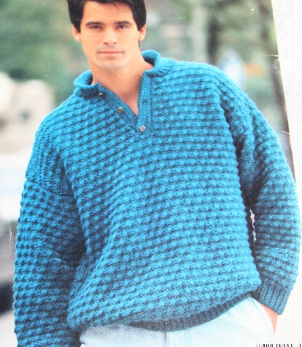 Sweater Knitting Patterns Chunky News Beehive Patons 491 Men