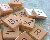 Wooden Scrabble Letter Tiles Game Pieces lot of 25