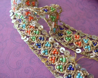 Vintage Sari Trim RARE Silver Metallic Thread Woven with Glass Beads and Sequins by the FOOT 12 inches per lot