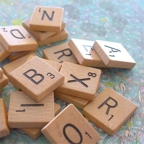 Wooden Scrabble Letter Tiles Game Pieces lot of 25