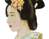 Japanese Geisha Art Japan Map Kimono Original Collage Asian Decor