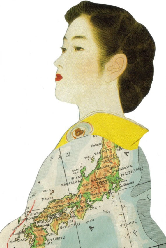 Original Collage Art Japan Map Art Japanese Geisha Kimono Artwork Asian Decor Paper Collage