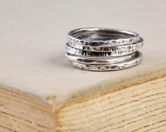 Silver Stackable Rings  / Hammered Skinny Rings / Custom/ Simplistic / Vintage Modern Jewelry