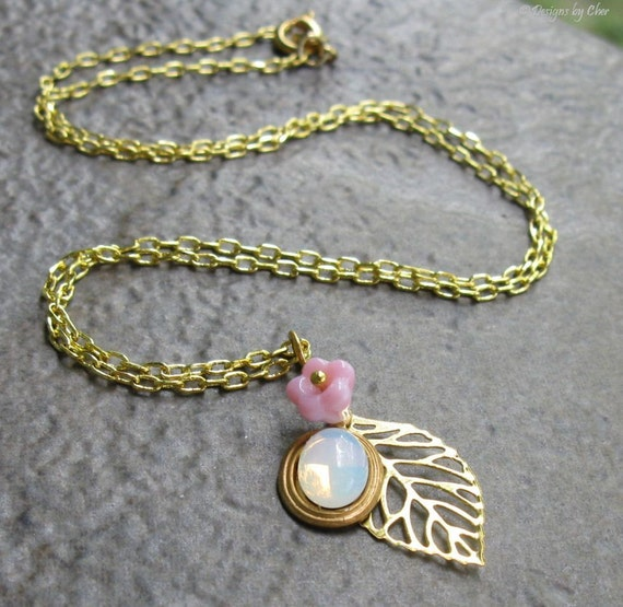 Opalite Floral Leaf Necklace, Gold Filigree Leaf Pink Glass Flower Sea Opal Cabochon Charm, Delicate Woodland Jewelry
