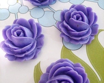 4 lavender cabbage rose cabochons, 26x22mm flower cabs