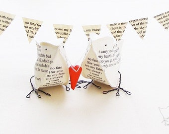 Wedding Cake Topper Valentines Day Poem Paper Birds I Carry Your Heart