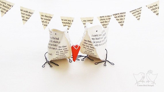 Poem Paper Birds i carry your heart with me  Wedding Cake Topper First Wedding Anniversary gift
