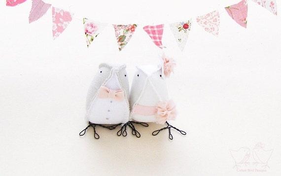 Cute Cake Toppers Wedding Cake Topper Fabric Birds Spring Summer Weddings