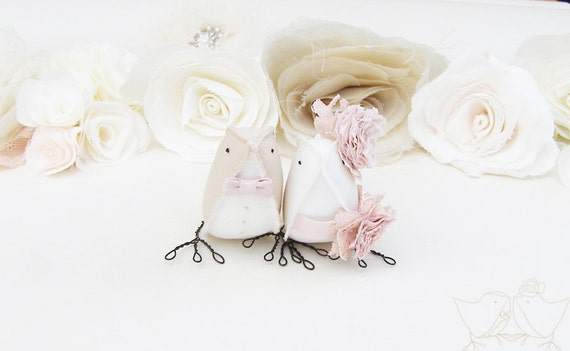 Wedding Cake Topper Love Birds Taupe and Vintage Pink Blush