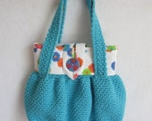PDF Crochet Pattern Crocheted Bubble Pouch, Two Versions, Crocheted with fabric lining OR All Crocheted with contrasting band