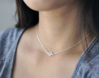 Clear Round Crystal sterling silver necklace - swarvoski charm link necklace - small silver gem necklace - delicate jewelry - Solo silver