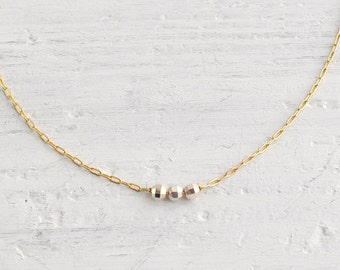 Tiny 3 beads silver and gold necklace - delicate necklace - faceted round beads - everyday jewelry - petite necklace - Icing silver and gold