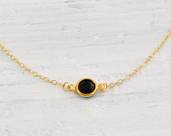 Gold black crystal necklace - round jet black gem - delicate gold filled OR Silver necklace - simple jewelry - minimal necklace - Solo jet