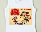 Vintage Baby Tee Retro Girl Ice Cream Tshirt Tank Custom Size NB to Youth XL
