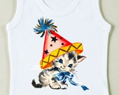 Retro Kitty Party Tee Custom Size Vintage Girl Tshirt Birthday Tank