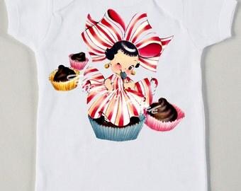 Retro Cupcake Princess Tee Custom Size Vintage Girl Tshirt