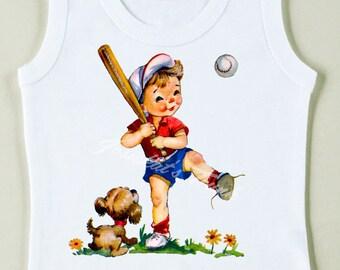 Retro Baseball Tee Custom Size Vintage Boy Tshirt Tank