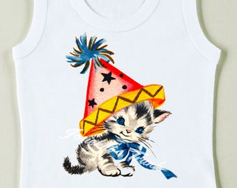 Retro Kitty Party Tee Custom Size Vintage Girl Tshirt Birthday Tank