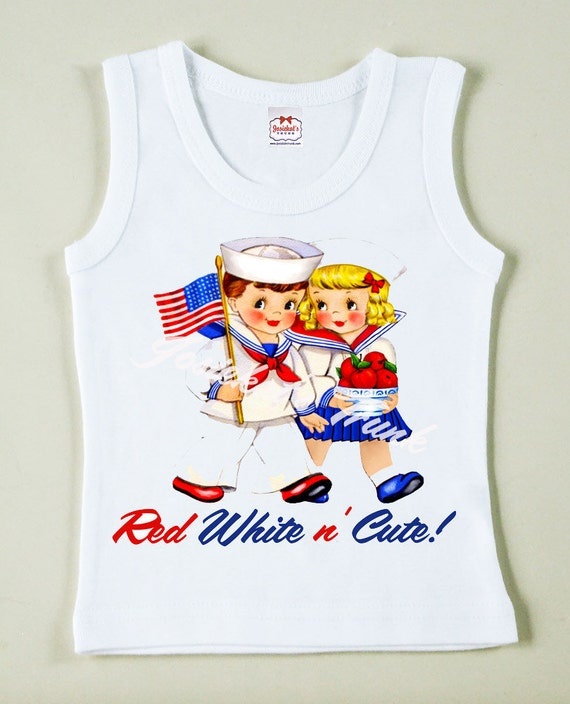 Vintage Patriotic Tank TShirt Size 18/24m Red White n Cute SALE Ready to Ship