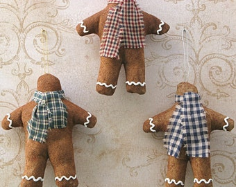Faux Gingerbread Man Ornament. Cloth Christmas Ornaments Set of 3. Xmas Tree Decoration. Primitive Folk Art Tree Hanger. Prim Ornie