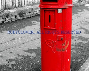 Red Mail Box in Belfast, UK Red Pillar Box Photo, Black & White with Pop of Red, British Mail box, UK Street Photography,Red Mailbox,Belfast