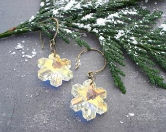 Snowflake Earrings - Swarovski - Holiday Earrings - Snowflake Jewelry - Dangle Earrings