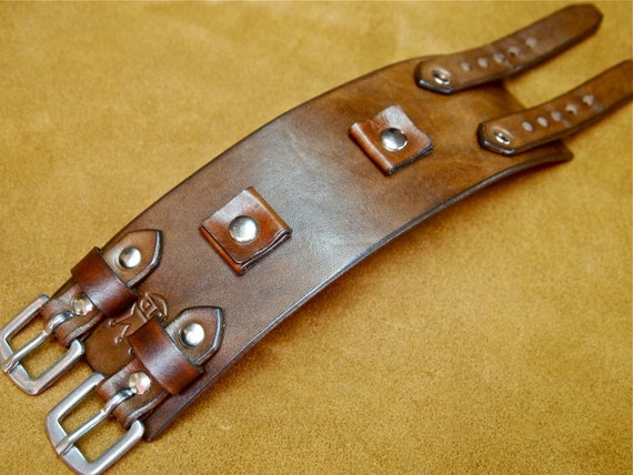 Leather Cuff Bracelet Brown Johnny Depp vintage style cuff watchband Best quality Made in NYC for YOU by Freddie Matara