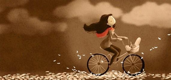 "Bike Art Print, Vintage Wall Decor, Bike Print - ""Autumn Breeze"""