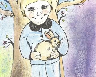 Vintage Style Watercolor Fine Art Print, Boy, Bunny, Rabbit, Animals, Baby Shower, Blue, Purple, Childrens Illustration, Tree, Baby Boy, Art
