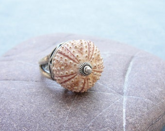 Sterling Silver Sea Urchin Ring Pastel Pink Sultan Ring